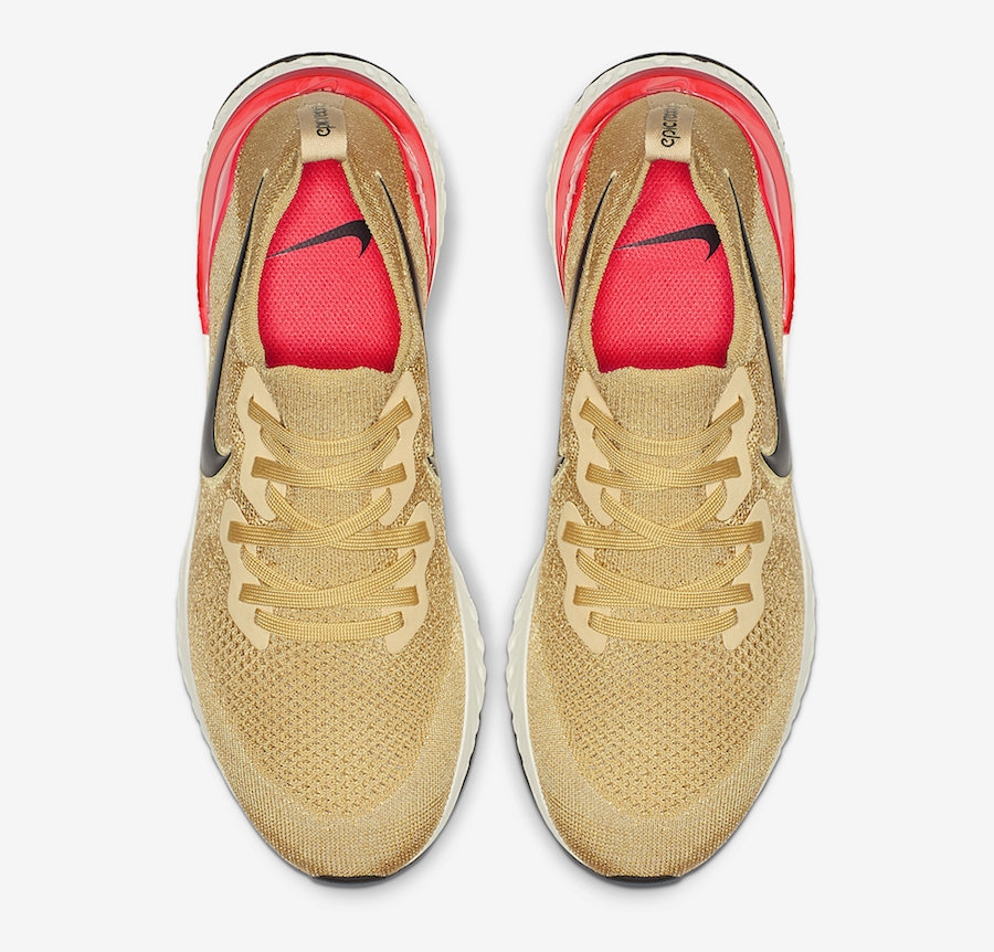 Nike Epic React Flyknit 2 Running Shoes Club Gold Red Orbit Sz 8.5 BQ8928 700 | eBay