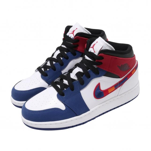 Air Jordan 1 Mid Gs University Red Rush Blue Kicksonfire