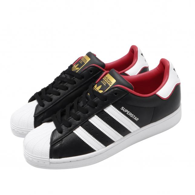 Adidas Superstar Core Black Cloud White Scarlet