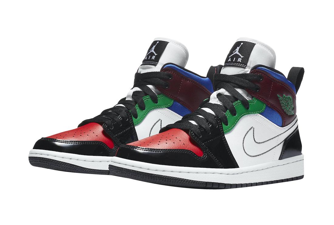 Air Jordan 1 Mid Wmns Black White Multicolor