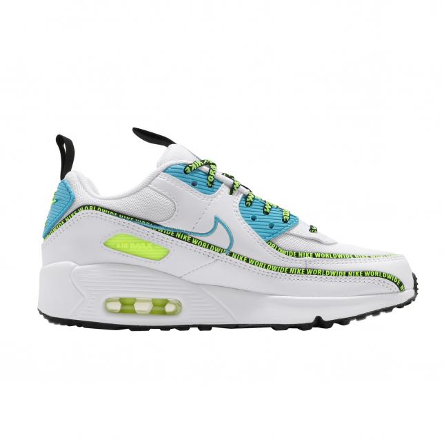 Nike Air Max 90 Se Gs Worldwide White Blue Fury