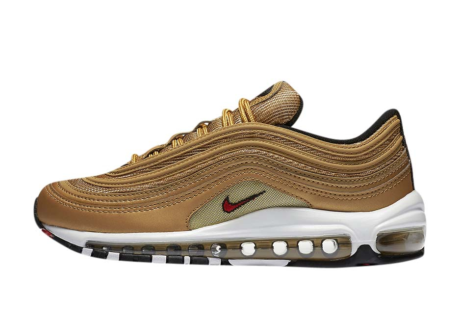 Nike Air Max 97 QS GS Metallic Gold Varsity Red 918890-700 100/%AUTHENTIC