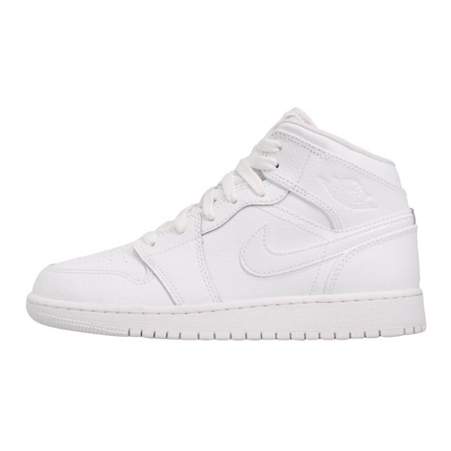 Air Jordan 1 Mid Gs Triple White