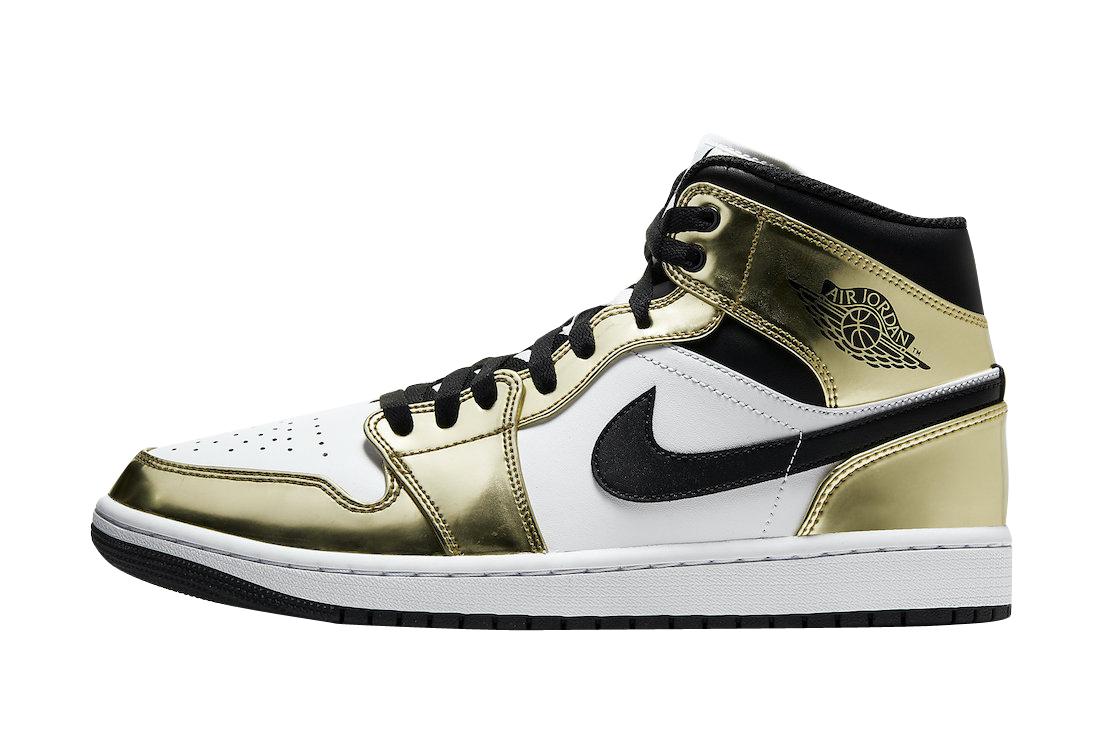 Air Jordan 1 Mid Se White Metallic Gold