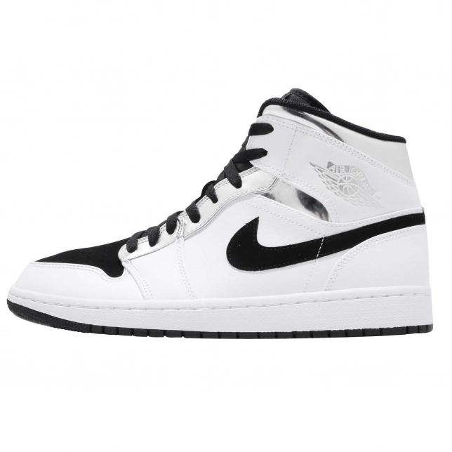 Air Jordan 1 Mid White Metallic Silver Black