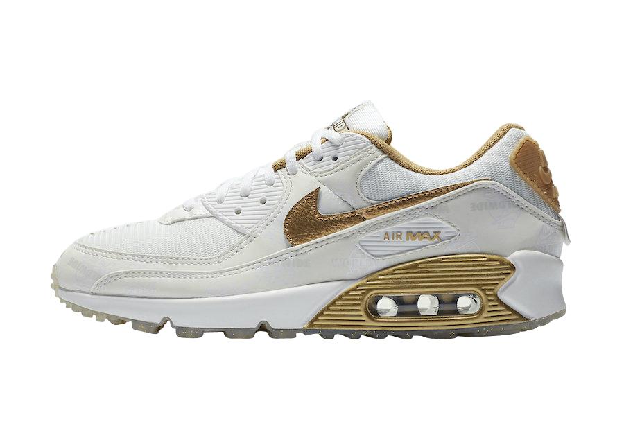 Nike WMNS Air Max 90 Worldwide White Gold DA1342-170 - KicksOnFire.com